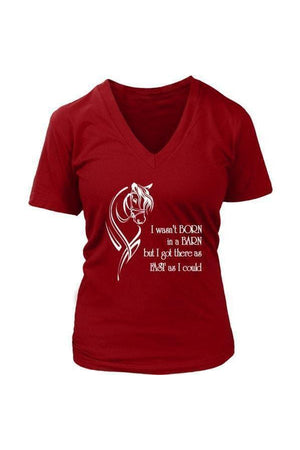 I Wasn't Born in a Barn - Tops-Tops-teelaunch-Womens V-Neck-Red-S-Three Wild Horses