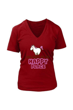 The Barn Is My Happy Place - Tops-Tops-teelaunch-Womens V-Neck-Red-S-Three Wild Horses