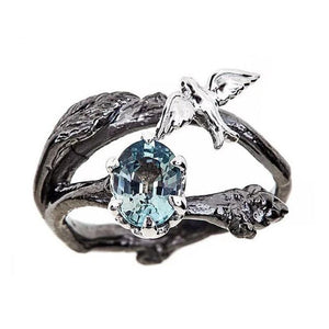 Slate Gray Vintage Black Color Branch with Birds Blue Cubic Zirconia Fashion Ring
