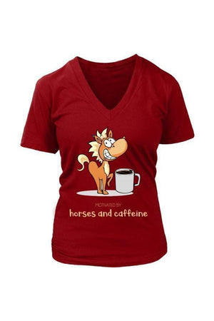 Horses and Caffeine - Tops-Tops-teelaunch-Womens V-Neck-Red-S-Three Wild Horses