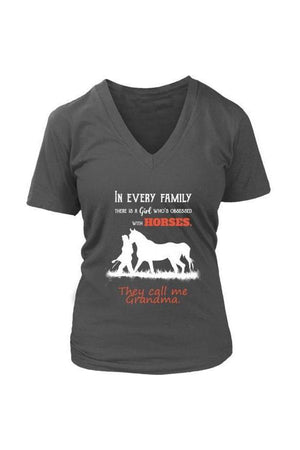 They Call Me Grandma - Tops-Tops-teelaunch-Womens V-Neck-Grey-S-Three Wild Horses