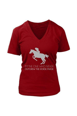 I Never Outgrew the Horse Phase - Tops-Tops-teelaunch-Womens V-Neck-Red-S-Three Wild Horses