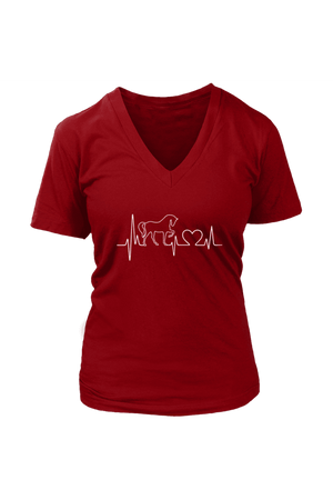 Horsebeat - Tops-Tops-teelaunch-Womens V-Neck-Red-S-Three Wild Horses