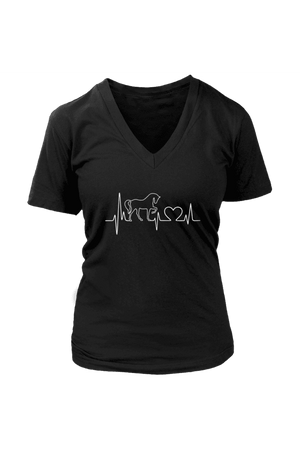 Horsebeat - Tops-Tops-teelaunch-Womens V-Neck-Black-S-Three Wild Horses