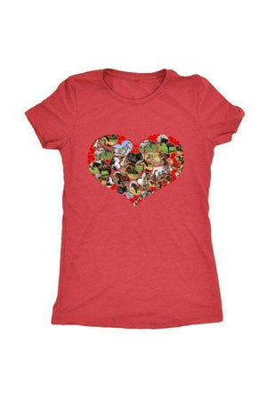 Heart Shape Horses - Tops-Tops-teelaunch-Ladies Triblend-Red-S-Three Wild Horses