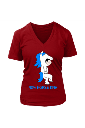 90% Horse DNA - Tops-Tops-teelaunch-Womens V-Neck-Red-S-Three Wild Horses