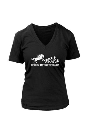 My Horse Ate Your Stick Family - Tops-Tops-teelaunch-Womens V-Neck-Black-S-Three Wild Horses