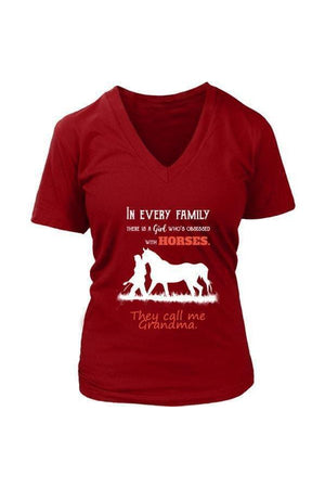 They Call Me Grandma - Tops-Tops-teelaunch-Womens V-Neck-Red-S-Three Wild Horses