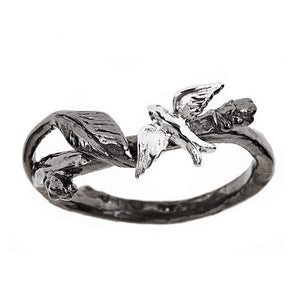 Dim Gray Vintage Black Color Branch with Birds Blue Cubic Zirconia Fashion Ring