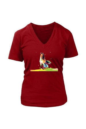 Running Around - Tops-Tops-teelaunch-Womens V-Neck-Red-S-Three Wild Horses