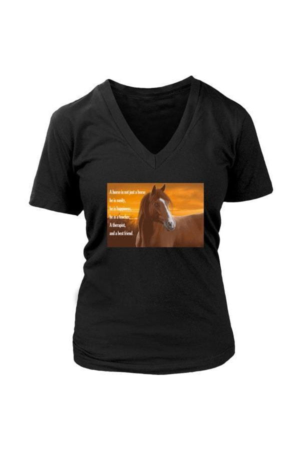 My Horse, My Friend - Tops-Tops-teelaunch-Womens V-Neck-Black-S-Three Wild Horses