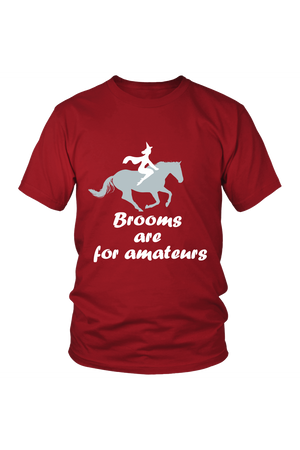 Brooms Are For Amateurs - Tops-Tops-teelaunch-Unisex Tee-Red-S-Three Wild Horses