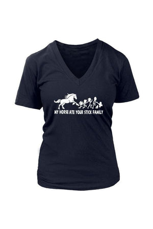 My Horse Ate Your Stick Family - Tops-Tops-teelaunch-Womens V-Neck-Navy-S-Three Wild Horses