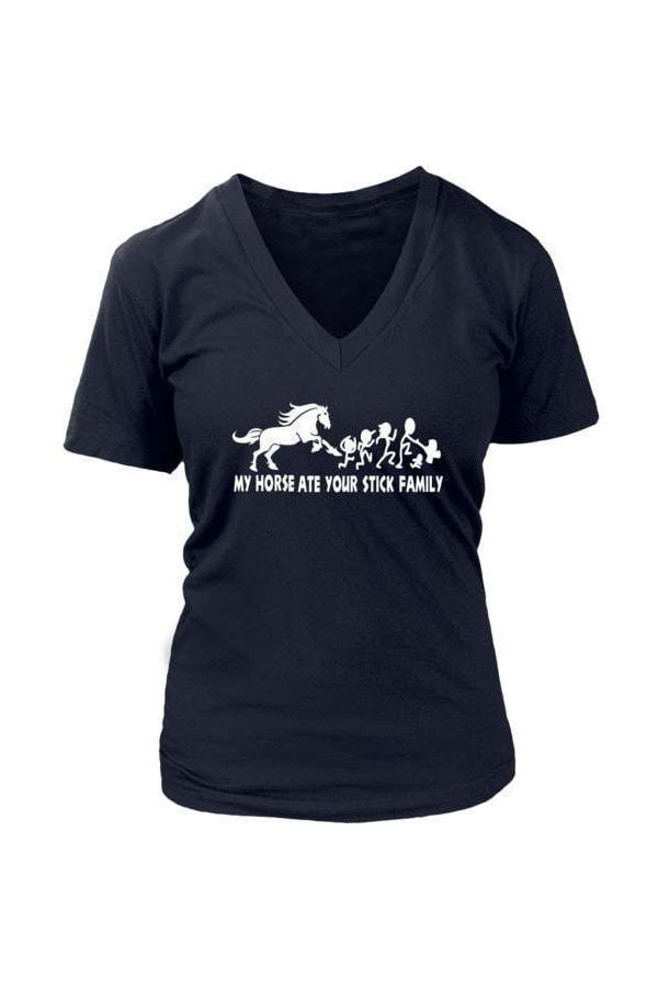 My Horse Ate Your Stick Family - V Neck in Grey