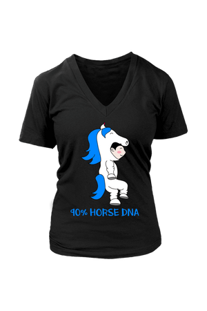 90% Horse DNA - Tops-Tops-teelaunch-Womens V-Neck-Black-S-Three Wild Horses