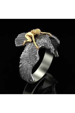 Dim Gray Gold and Silver Two Tone Metal Flying Eagle Vintage Style Ring Size-8