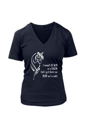 I Wasn't Born in a Barn - Tops-Tops-teelaunch-Womens V-Neck-Navy-S-Three Wild Horses