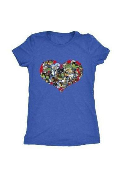 Heart Shape Horses - Tops-Tops-teelaunch-Ladies Triblend-Royal Blue-S-Three Wild Horses