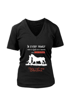 They Call Me Grandma - Tops-Tops-teelaunch-Womens V-Neck-Black-S-Three Wild Horses