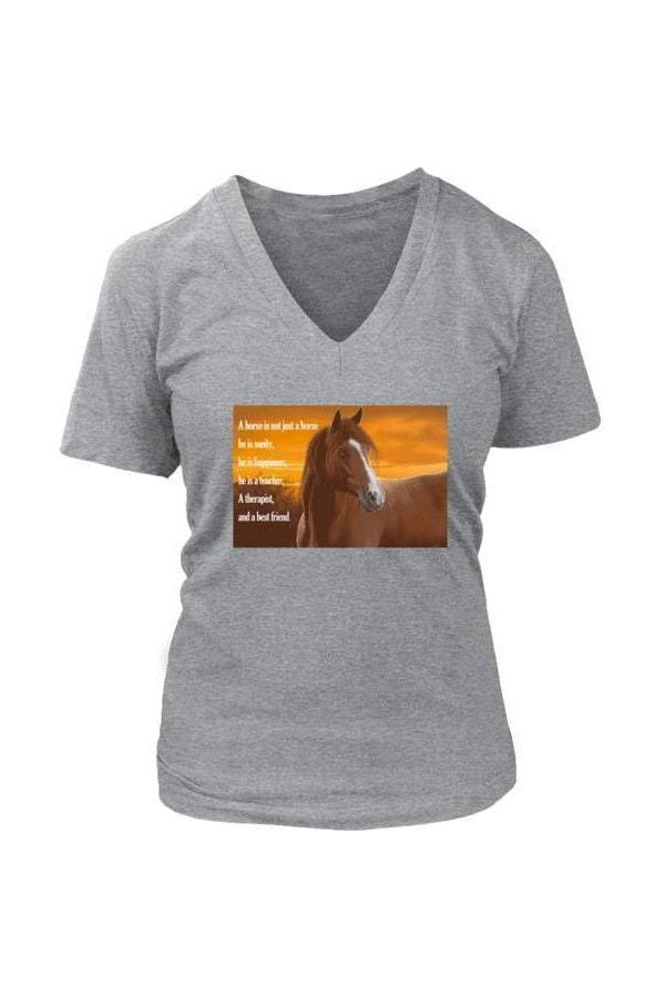 My Horse, My Friend - Tops-Tops-teelaunch-Womens V-Neck-Grey-S-Three Wild Horses