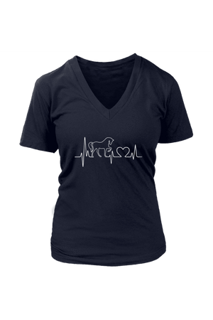 Horsebeat - Tops-Tops-teelaunch-Womens V-Neck-Navy-S-Three Wild Horses