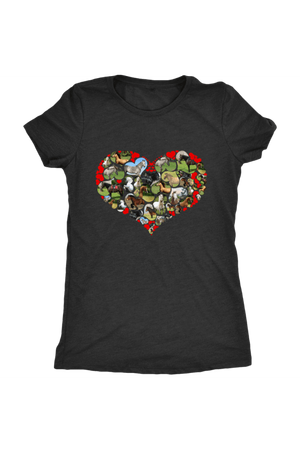 Heart Shape Horses - Tops-Tops-teelaunch-Ladies Triblend-Black-S-Three Wild Horses