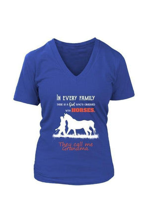 They Call Me Grandma - Tops-Tops-teelaunch-Womens V-Neck-Royal Blue-S-Three Wild Horses
