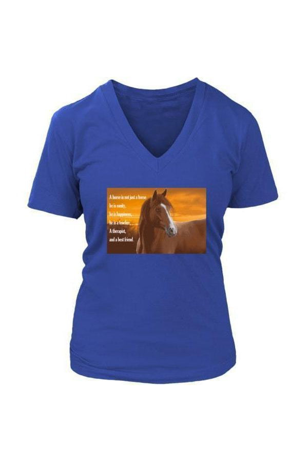 My Horse, My Friend - Tops-Tops-teelaunch-Womens V-Neck-Royal Blue-S-Three Wild Horses