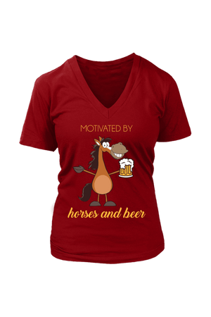 Horses and Beer - Tops-Tops-teelaunch-Womens V-Neck-Red-S-Three Wild Horses