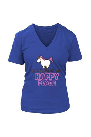 The Barn Is My Happy Place - Tops-Tops-teelaunch-Womens V-Neck-Royal Blue-S-Three Wild Horses