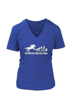 My Horse Ate Your Stick Family - Tops-Tops-teelaunch-Womens V-Neck-Royal Blue-S-Three Wild Horses