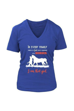 I Am That Girl - Tops-Tops-teelaunch-Womens V-Neck-Royal Blue-S-Three Wild Horses
