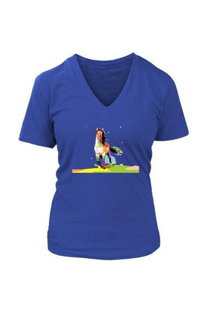 Running Around - Tops-Tops-teelaunch-Womens V-Neck-Royal Blue-S-Three Wild Horses