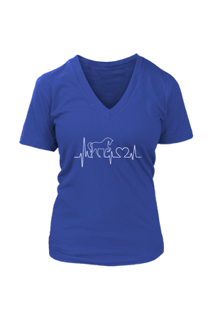 Horsebeat - Tops-Tops-teelaunch-Womens V-Neck-Royal Blue-S-Three Wild Horses