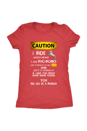 Caution! I Ride Horses - Tops-Tops-teelaunch-Ladies Triblend-Red-S-Three Wild Horses