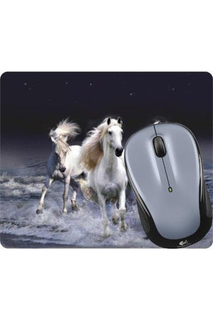 Three White Horses - Mouse Pad-Mousepads-teelaunch-Mousepad-Three Wild Horses