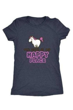 The Barn Is My Happy Place - Tops-Tops-teelaunch-Ladies Triblend-Navy-S-Three Wild Horses