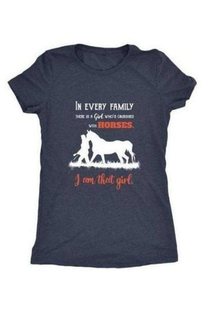 I Am That Girl - Tops-Tops-teelaunch-Ladies Triblend-Navy-S-Three Wild Horses