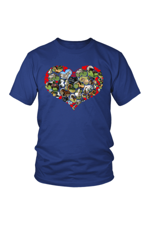 Heart Shape Horses - Tops-Tops-teelaunch-Unisex Tee-Royal Blue-S-Three Wild Horses