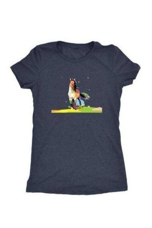 Running Around - Tops-Tops-teelaunch-Ladies Triblend-Navy-S-Three Wild Horses