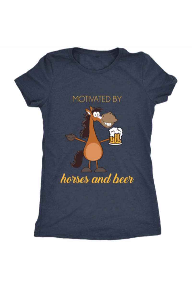 Horses and Beer - Tops-Tops-teelaunch-Ladies Triblend-Navy-S-Three Wild Horses