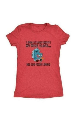 She Also Needs a Horse - Tops-Tops-teelaunch-Ladies Triblend-Red-S-Three Wild Horses