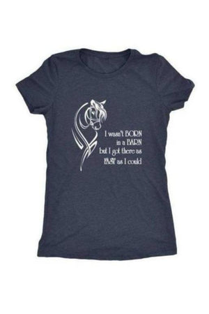 I Wasn't Born in a Barn - Tops-Tops-teelaunch-Ladies Triblend-Navy-S-Three Wild Horses