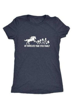 My Horse Ate Your Stick Family - Tops-Tops-teelaunch-Ladies Triblend-Navy-S-Three Wild Horses
