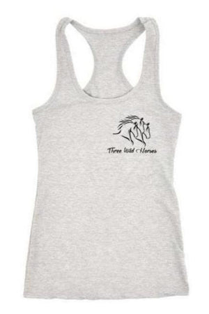 Three Wild Horses - White and Grey Tops-Tops-teelaunch-Racerback Tank-Grey-S-Three Wild Horses