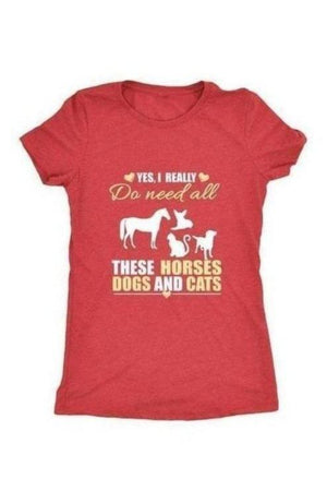 Yes, I really do need all these horses, dogs & cats - Tops-Tops-teelaunch-Ladies Triblend-Red-S-Three Wild Horses