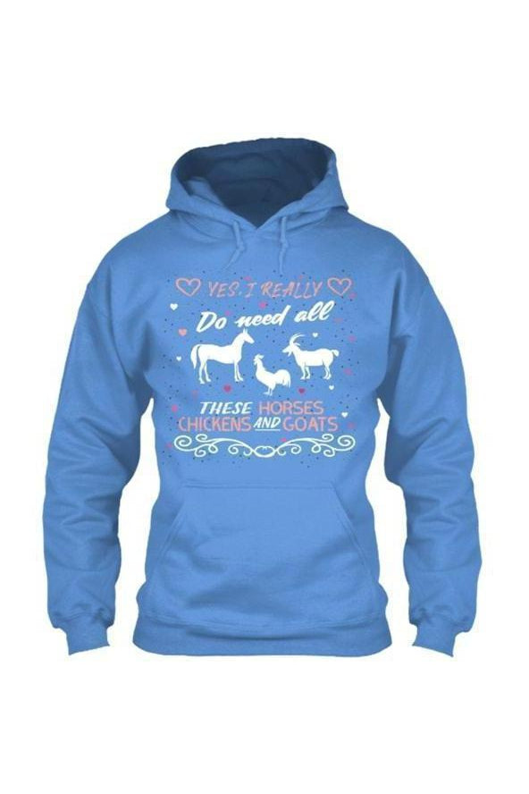 Yes, I really do need all these horses, chickens and goats - Long Sleeve-Long Sleeve-Teescape-HOODIE-RoyalBlue-S-Three Wild Horses