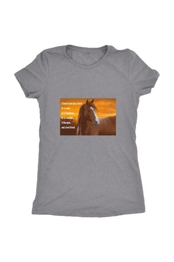 My Horse, My Friend - Tops-Tops-teelaunch-Ladies Triblend-Grey-S-Three Wild Horses