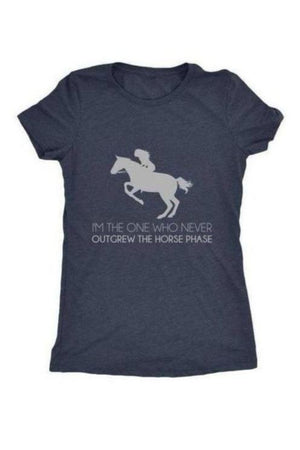 I Never Outgrew the Horse Phase - Tops-Tops-teelaunch-Ladies Triblend-Navy-S-Three Wild Horses