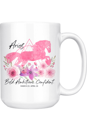 Aries Zodiac Horse Coffee Mug-Drinkware-teelaunch-Aries Pink Horse Mug-Three Wild Horses